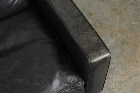 black leather sofa with chrome legs mid century modern black leather sofa with chrome legs at