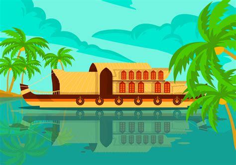 houseboat vector kerala houseboat vector background illustration download
