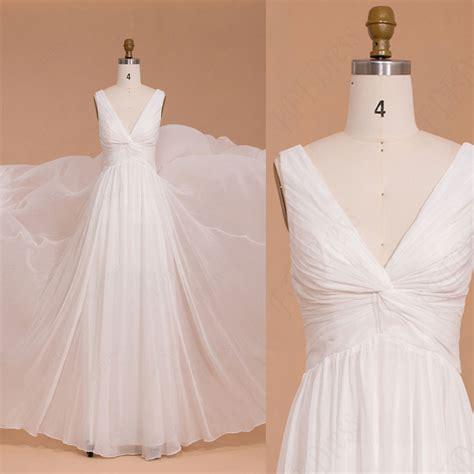 simple chiffon v neck floor length wedding dresses
