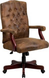 Brown Office Chair Design Ideas Bomber Rustic Brown Button Tufted Home Office Executive Desk Chairs W Wood Frame Ebay