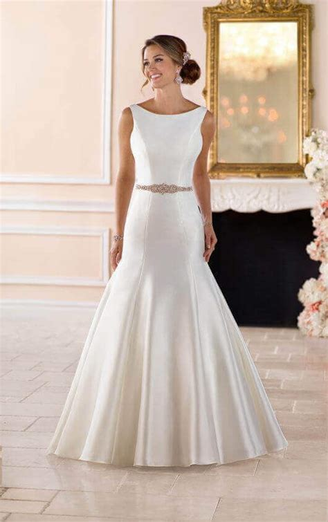 boat neck wedding dress  deep   stella york