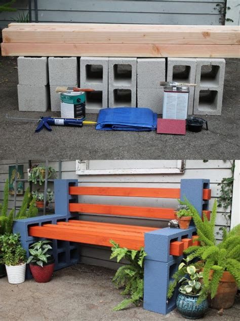 concrete block bench diy outdoor bench from concrete blocks wooden slats 1001 gardens