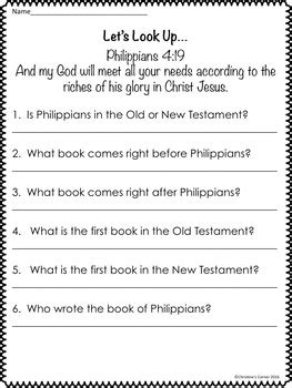 Books Of The Bible Printable Worksheets