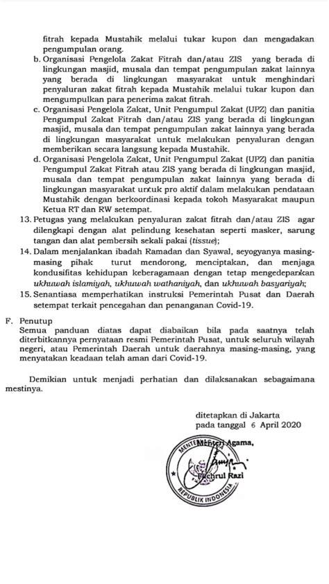 Surat Edaran Menteri Agama Nomor 6 Tahun 2020 tentang