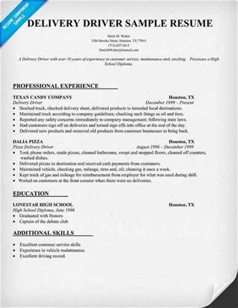 Driver Resume Template by Sle Delivery Driver Resume