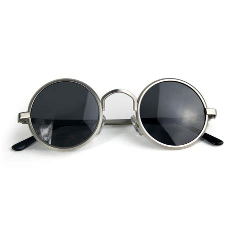 round sunglasses John Lennon style silver gold polarized lens color options   Hi Tek Webstore