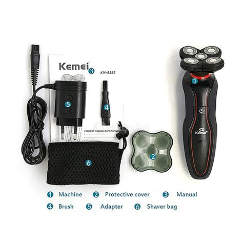 light machine for shavers kemei km 6181 ergonomic rechargeable shaver