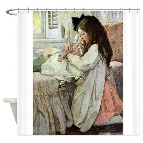 little girls shower curtains little girl with her doll shower curtain by fairy tales