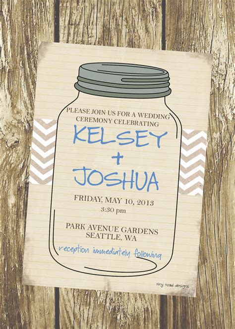 rustic mason jar wedding invitation diy by tinytoaddesigns