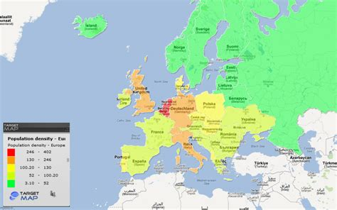 europe map of population density europe by countries