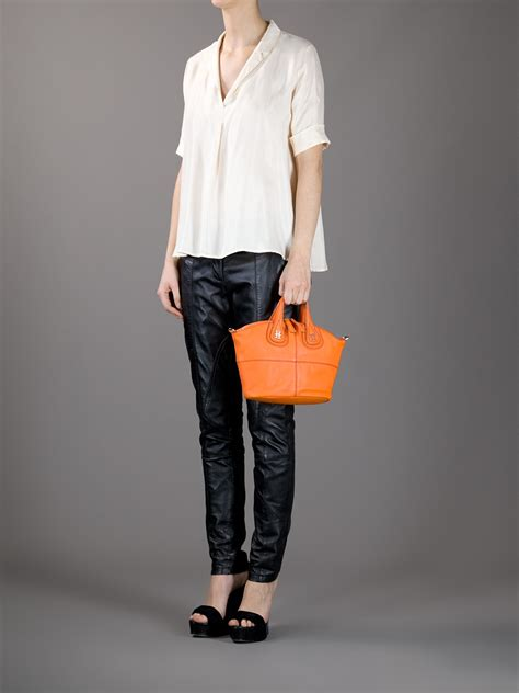 givenchy nightingale mini tote in orange lyst