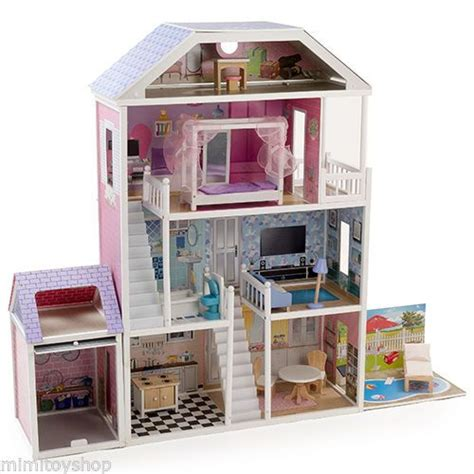 wood barbie doll house mamakiddies 1 3 m brighton wooden doll house with furnitures barbie wooden dolls