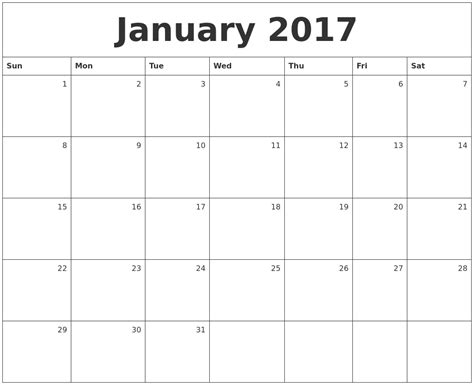 Printable Monthly Calendar January | january calendars
