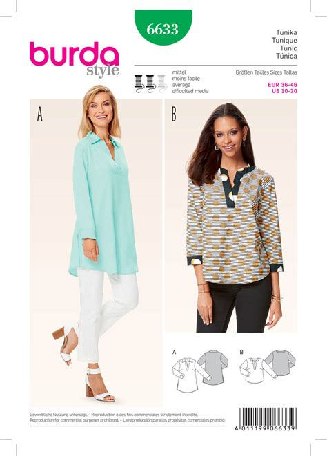 pattern of review article burda 6633 misses tunic