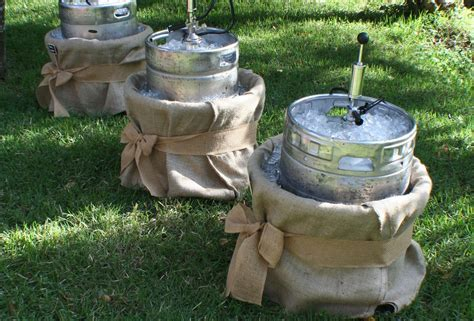 Kegs wrapped in burlap   Cocktail Hour/Lounge area