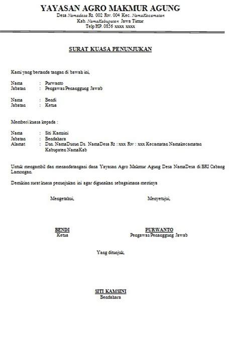 contoh surat kuasa penunjukan cara buat surat