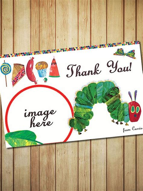 1st birthday thank you card template hungry caterpillar birthday thank you card digital