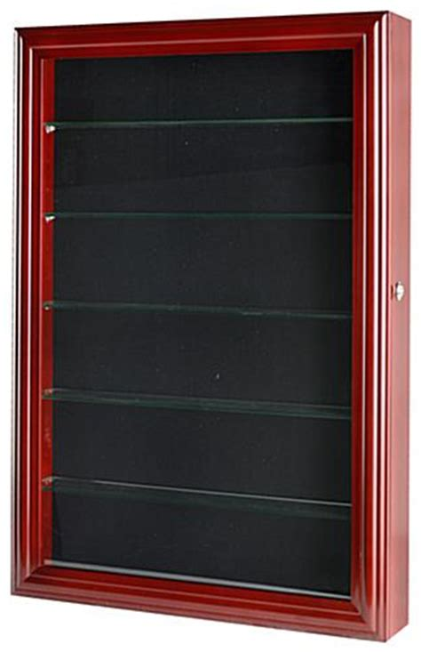 shadow box with shelves and glass door modern shadow box 5 tempered glass shelves cherry finish