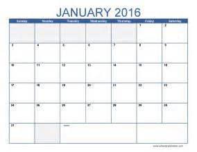 Blank Calendar Template Excel by January 2016 Calendar Template Monthly Calendar Excel Pdf