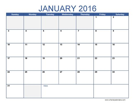 2016 Monthly Calendar Template january 2016 calendar template monthly calendar excel pdf