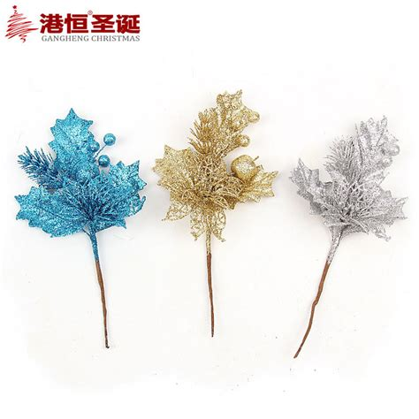 bedazzled christmas tree lights gold silver blue artificial christmas flowers decoration
