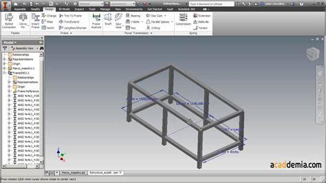 inventor gestell cree una estructura con frame generator de autodesk