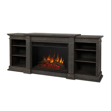 Real Fireplace Tv Stand by Real Eliot 81 Quot Fireplace Tv Stand In Antique Gray 1290e Agr