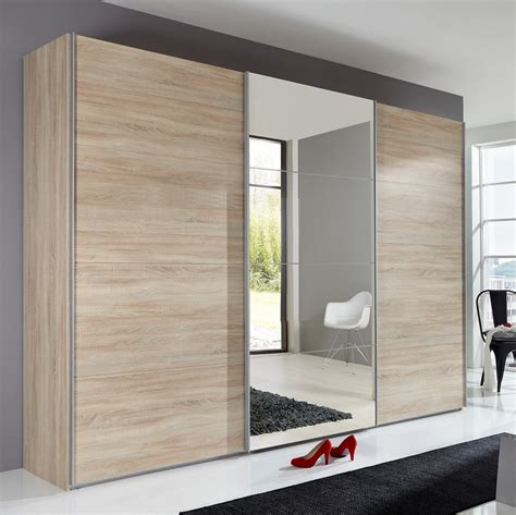 Oak Furniture Wardrobes by Slumberhaus Ernie German Made Modern 270cm Oak Amp Mirror