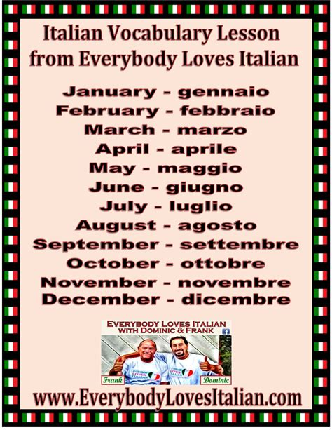 that month in tuscany italian vocabulary lesson months everybodylovesitalian