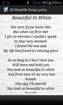 beautiful in white lyrics 30 westlife song lyrics apk download free entertainment