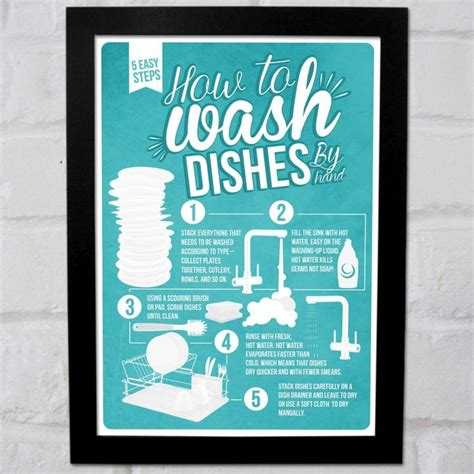 Cool Housewarming Gifts For Her by How To Wash Dishes Infographic Poster Find Me A Gift