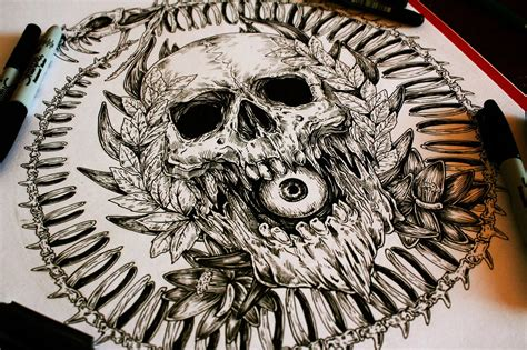 skull drawings by a man called e g the freak scene360