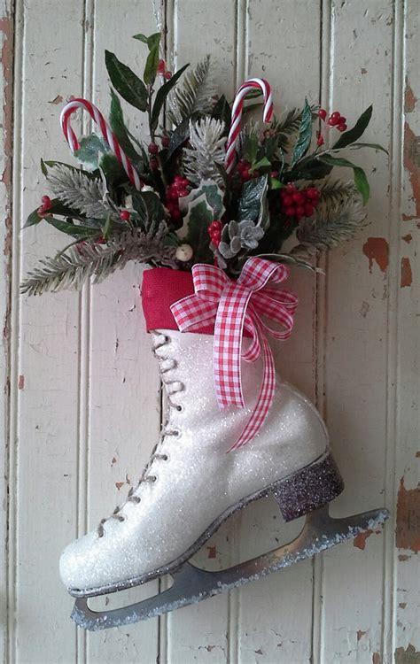 decorated ice skate christmas decor ice skate wreath