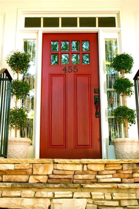 red front door  small windows   top