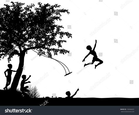 silhouette swing editable vector silhouette of young boys leaping off a