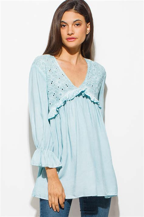 Blouse Cewek Rianty Top Ash Mint Shop Wholesale Womens Mint Blue Embroidered Ruffle Tiered