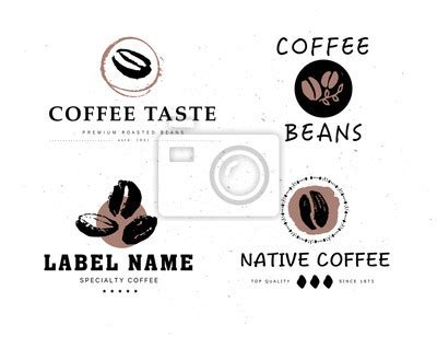 design elements of a coffee shop fototapeta vector collection of hand drawn coffee logo