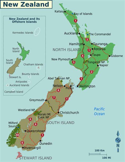 map of new zealand neuseeland regionen karte