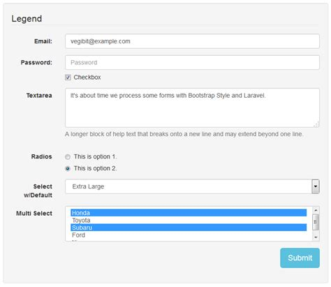 laravel tutorial form create form elements using laravel and bootstrap web