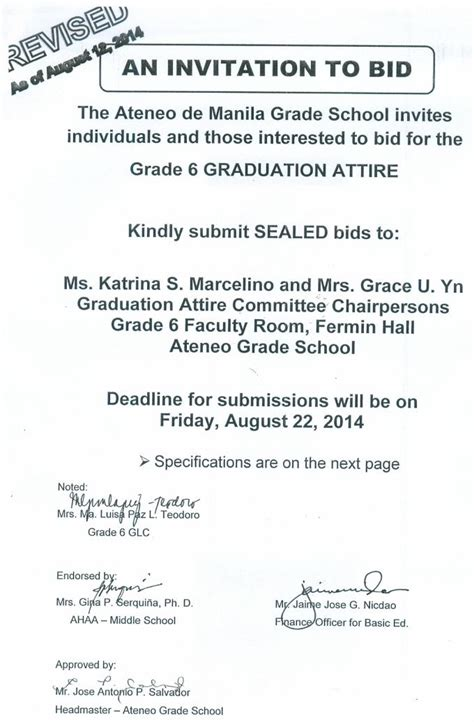 to bid revised invitation to bid for grade 6 graduation attire