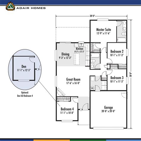 adair home floor plans adair homes the arcadia west 1485 home plan