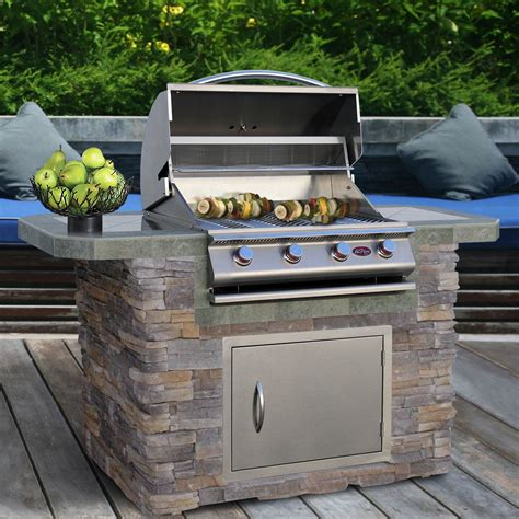 bull outdoor kitchen island outdoor kitchens at hayneedle cal flame 6 ft natural stone and tile grill island with 4