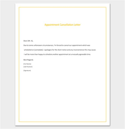 sle appointment card template appointment cancellation letter 10 sles exles