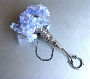 Vintage Apartment Decor vintage tussie mussie silver bouquet holder flower holder