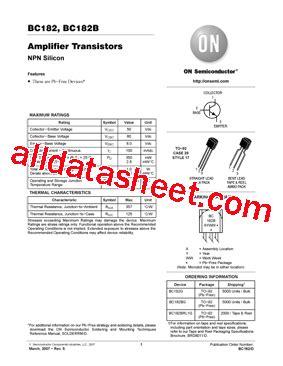 transistor on semi bc182 datasheet pdf on semiconductor