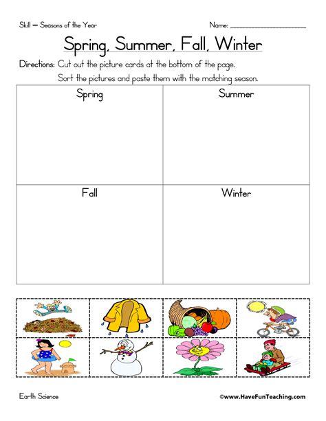 kindergarten activities on seasons 4 best images of seasons worksheets printable