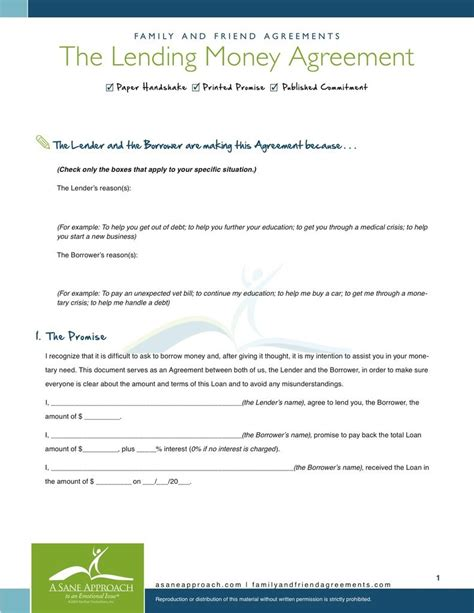 Lending Money Agreement Family And Friend Agreements A Sane Approach To An Emotional Issue Template For Lending Money