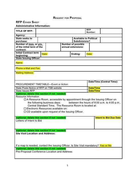 Rfp Template Word Document Request For Template Microsoft