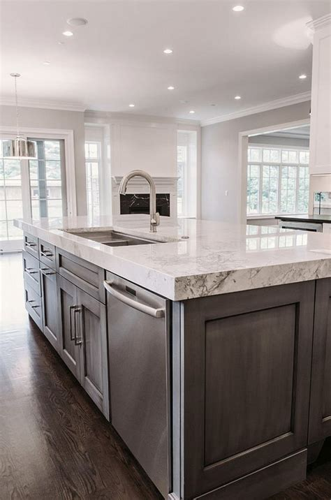 contrasting island bench  marble top marble kitchen