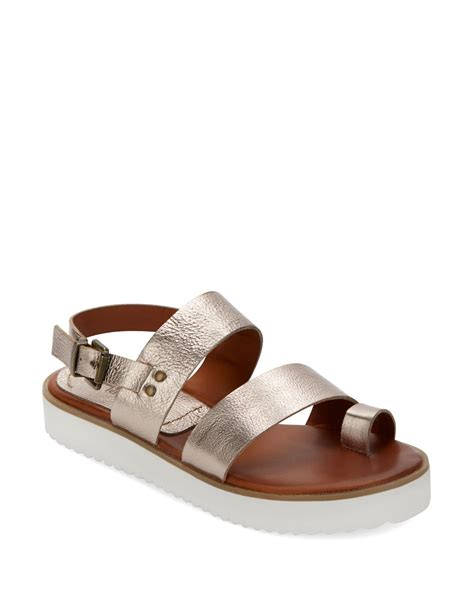 mioa sandals lyst leather sandals in metallic